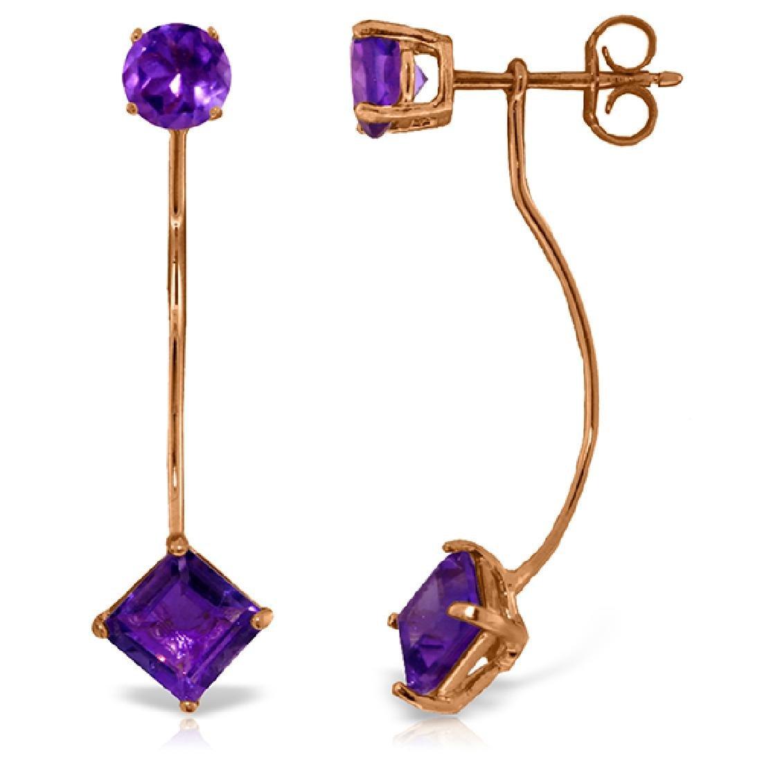 Genuine 4.15 ctw Amethyst Earrings Jewelry 14KT Rose