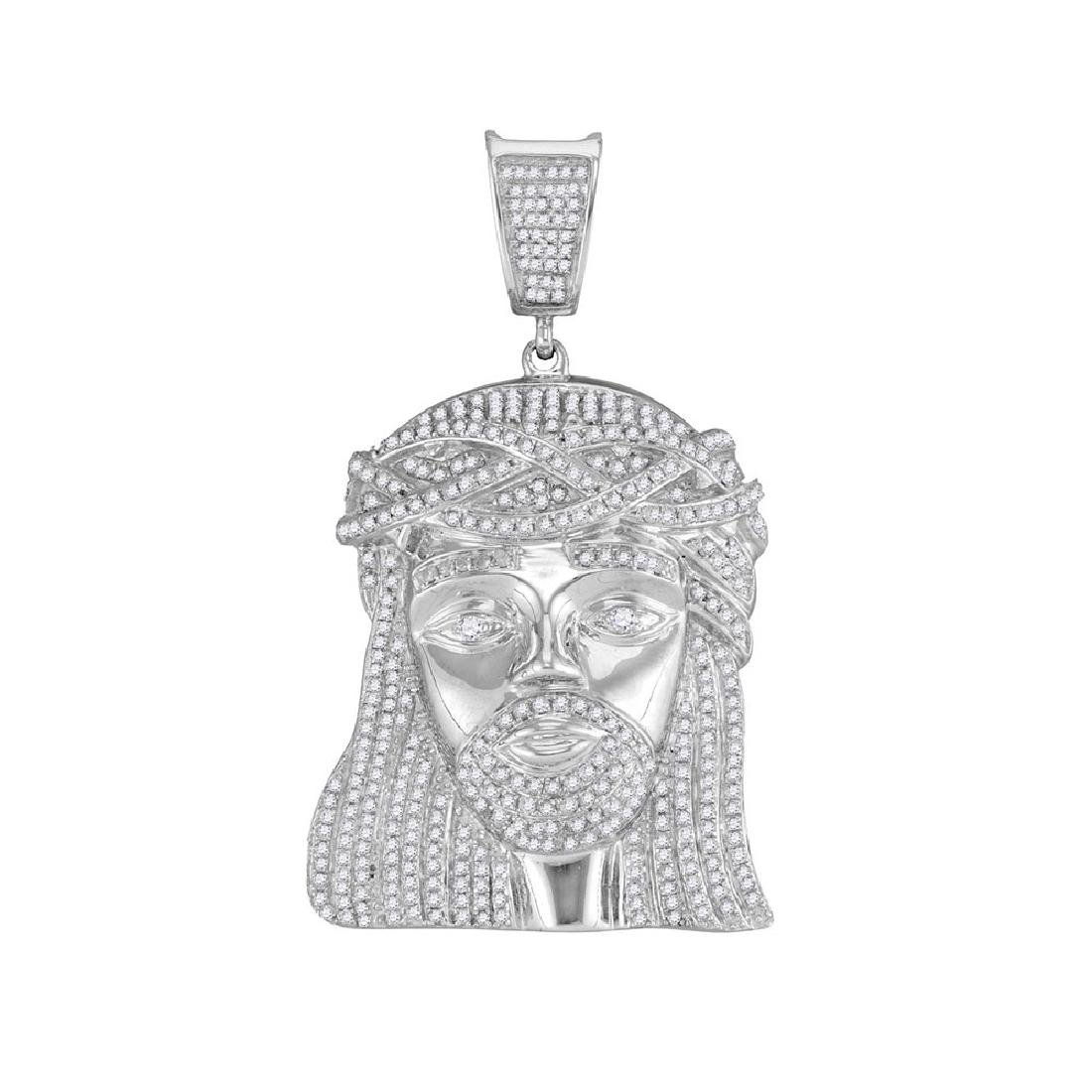 1.9 CTW Mens Diamond Jesus Head Pendant 10KT White Gold