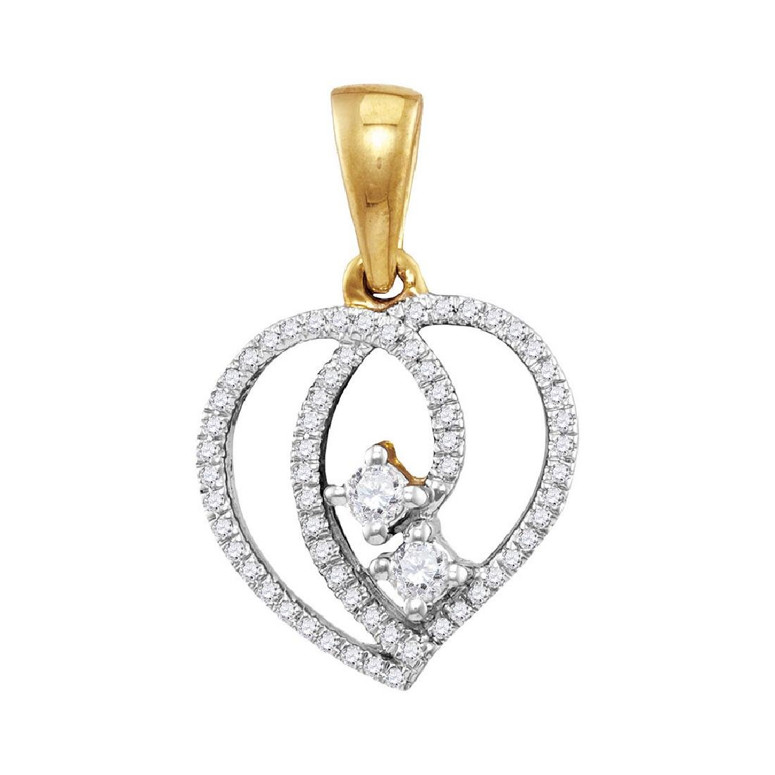 0.16 CTW Diamond 2-Stone Hearts Together Heart Pendant