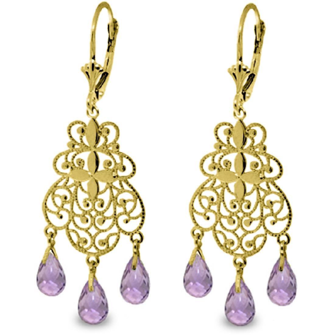 Genuine 3.75 ctw Amethyst Earrings Jewelry 14KT Yellow