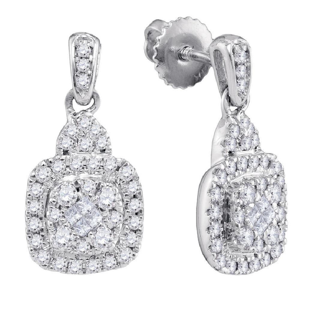0.45 CTW Princess Diamond Soleil Square Dangle Earrings
