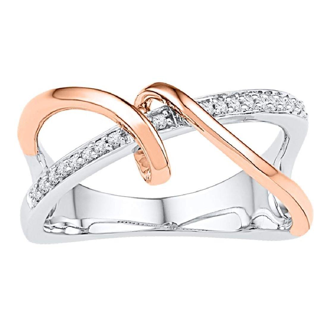 0.10 CTW Diamond Spiral Strand Crossover Ring 10KT