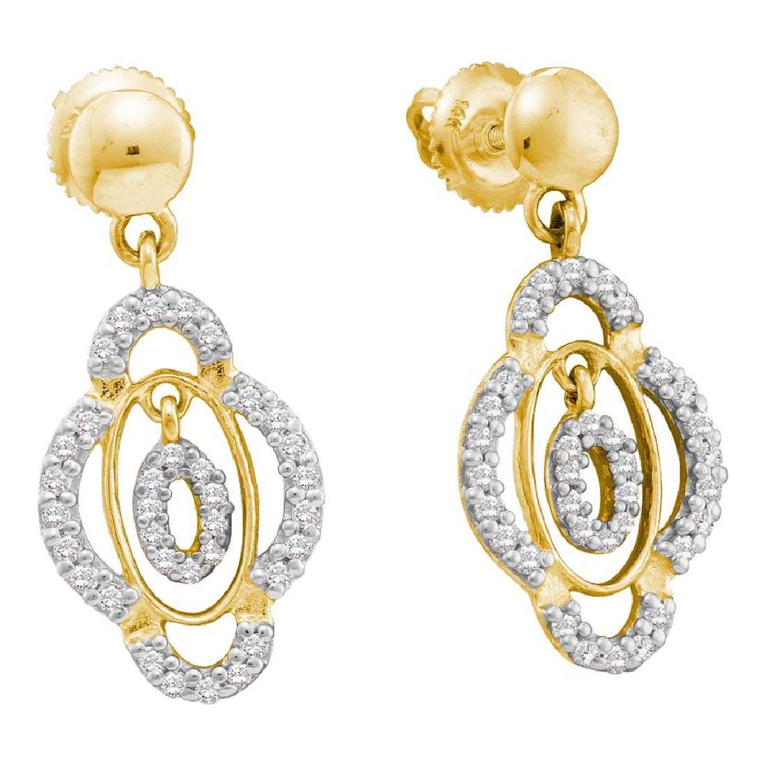 0.40 CTW Diamond Dangle Screwback Earrings 14KT Yellow