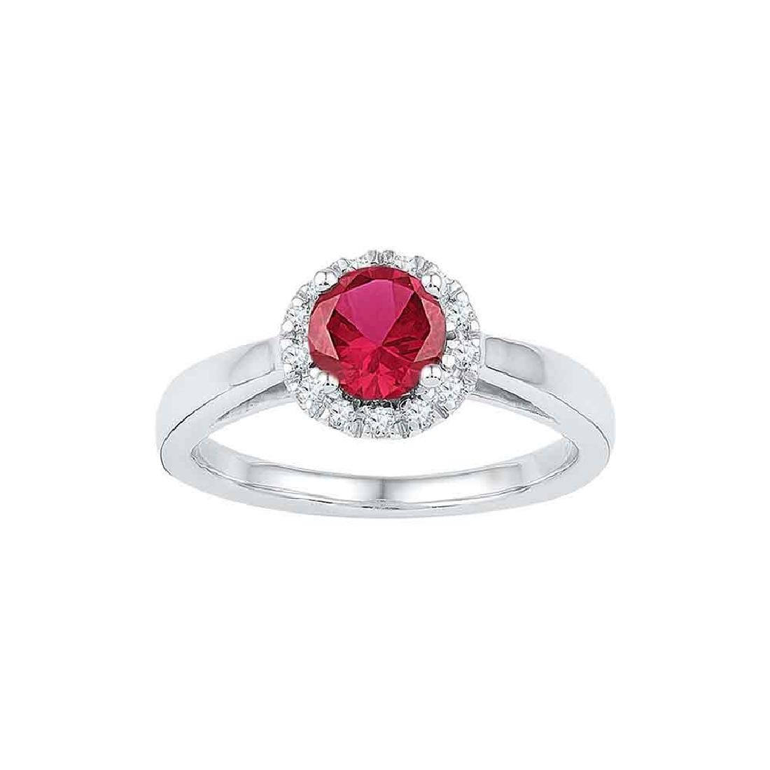 1.12 CTW Created Ruby & Diamond Cocktail Ring 10KT