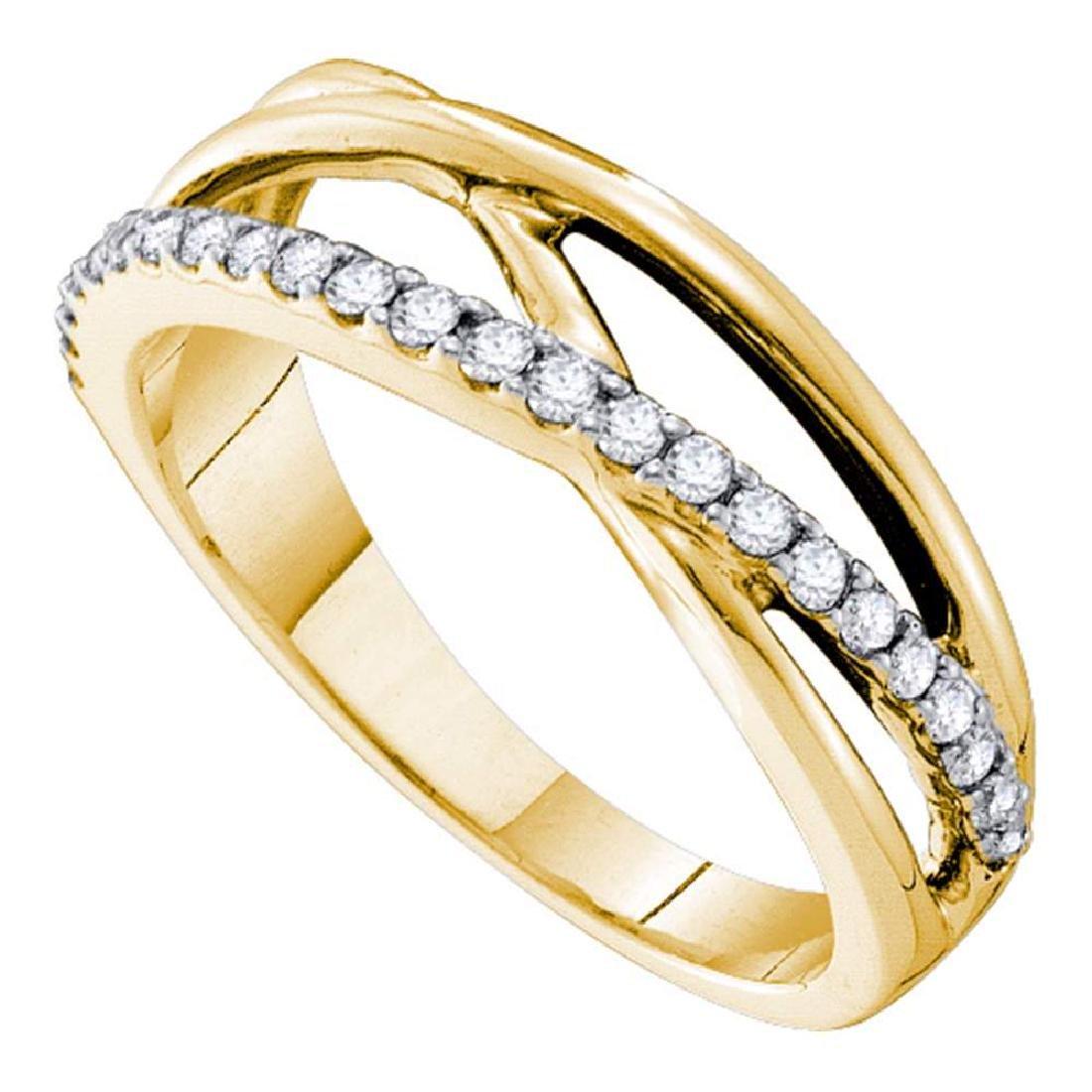 0.25 CTW Diamond Crossover Ring 14KT Yellow Gold -