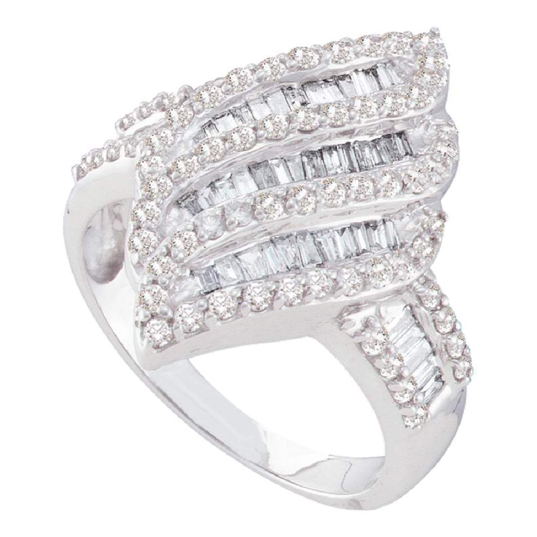 1 CTW Diamond Oval Cluster Ring 14KT White Gold -
