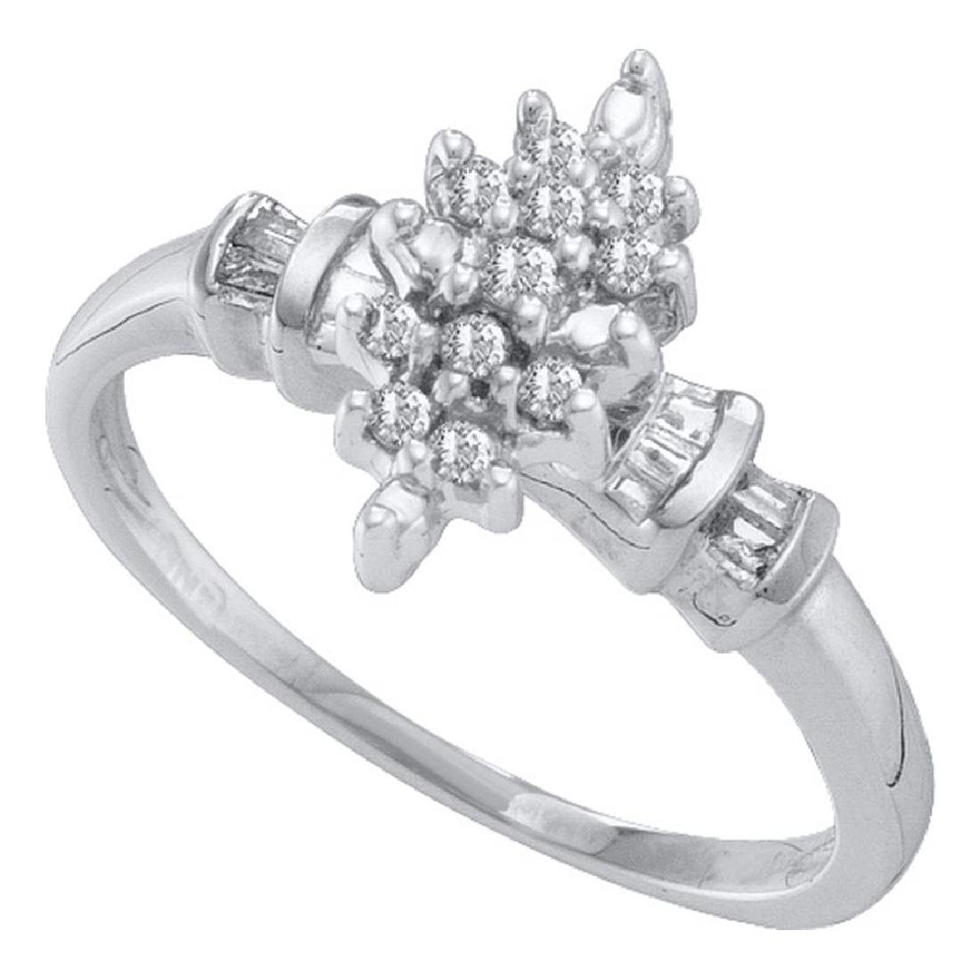 0.15 CTW Prong-set Diamond Marquis-shape Cluster Ring