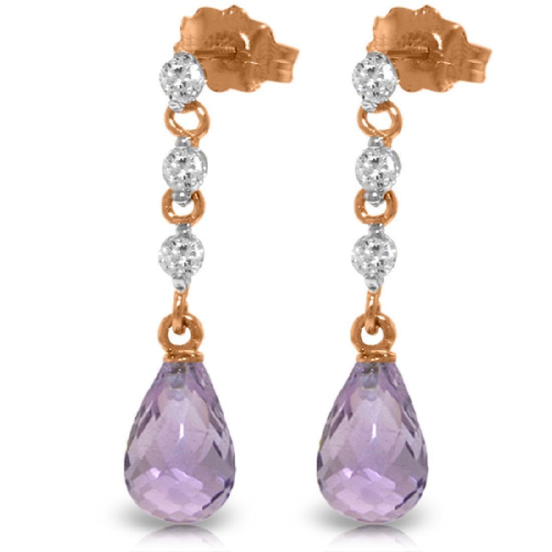 Genuine 3.3 ctw Amethyst & Diamond Earrings Jewelry