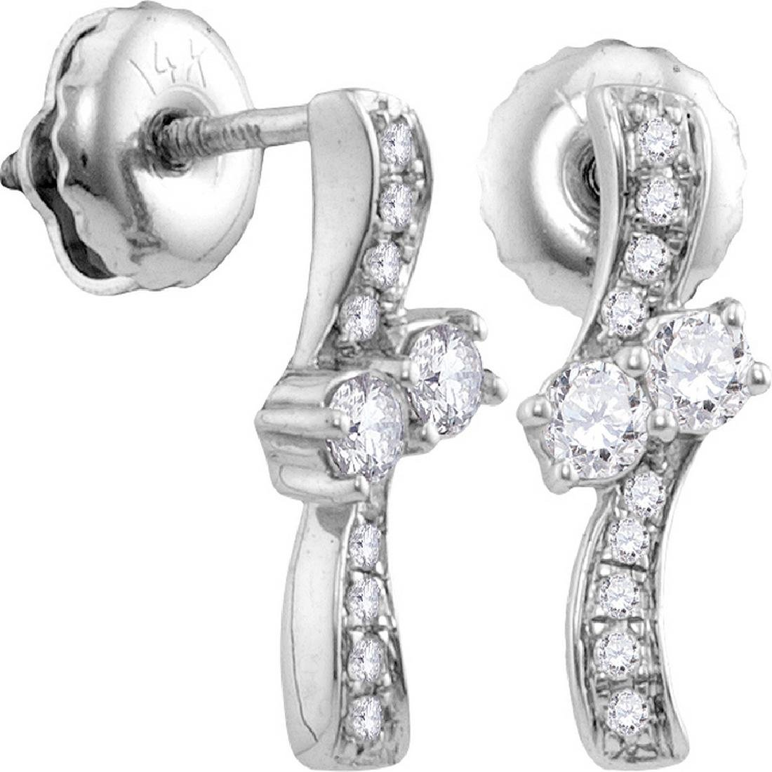 0.25 CTW Diamond 2-stone Hearts Together Stud Earrings