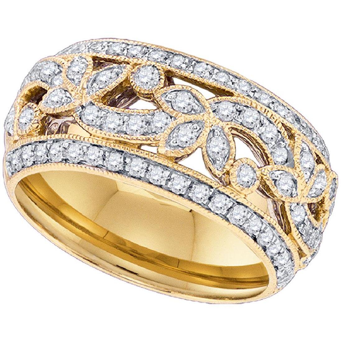 0.75 CTW Diamond Floral Ring 14KT Yellow Gold -