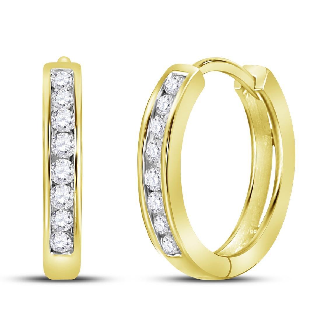 0.25 CTW Diamond Hoop Earrings 14KT Yellow Gold -