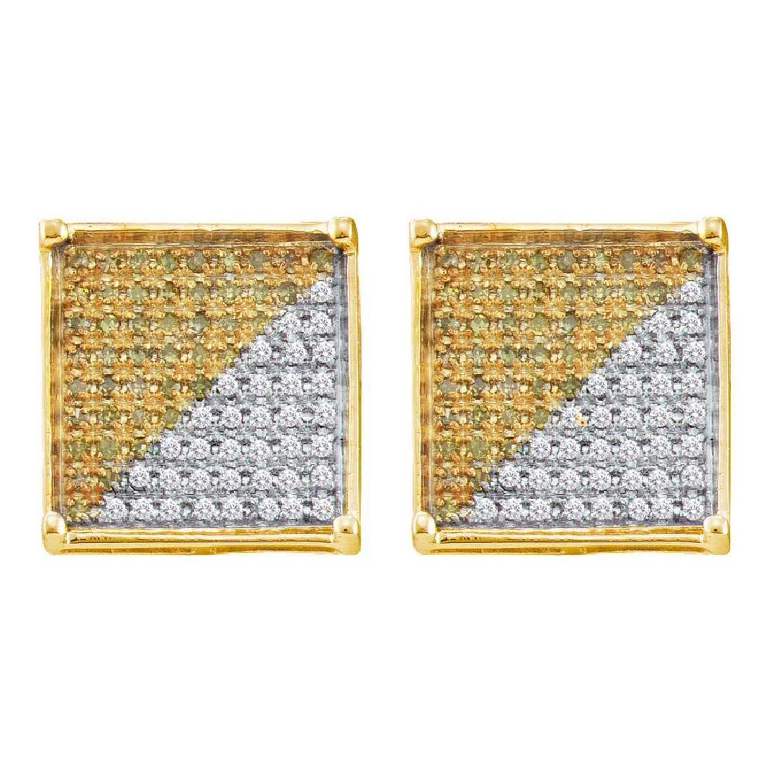 0.31 CTW Mens Yellow Color Diamond Square Cluster