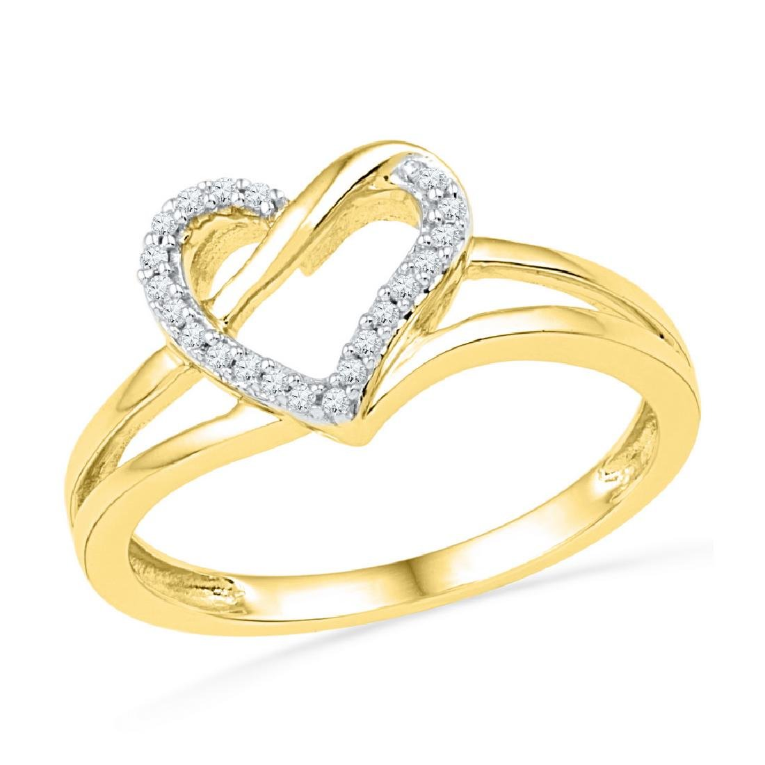 0.06 CTW Diamond Heart Outline Ring 10KT Yellow Gold -