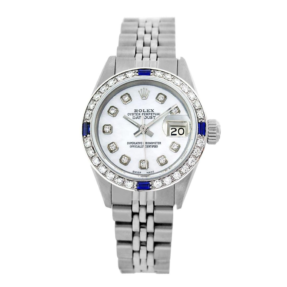 Rolex Pre-owned 26mm Womens Custom White MOP Stainless