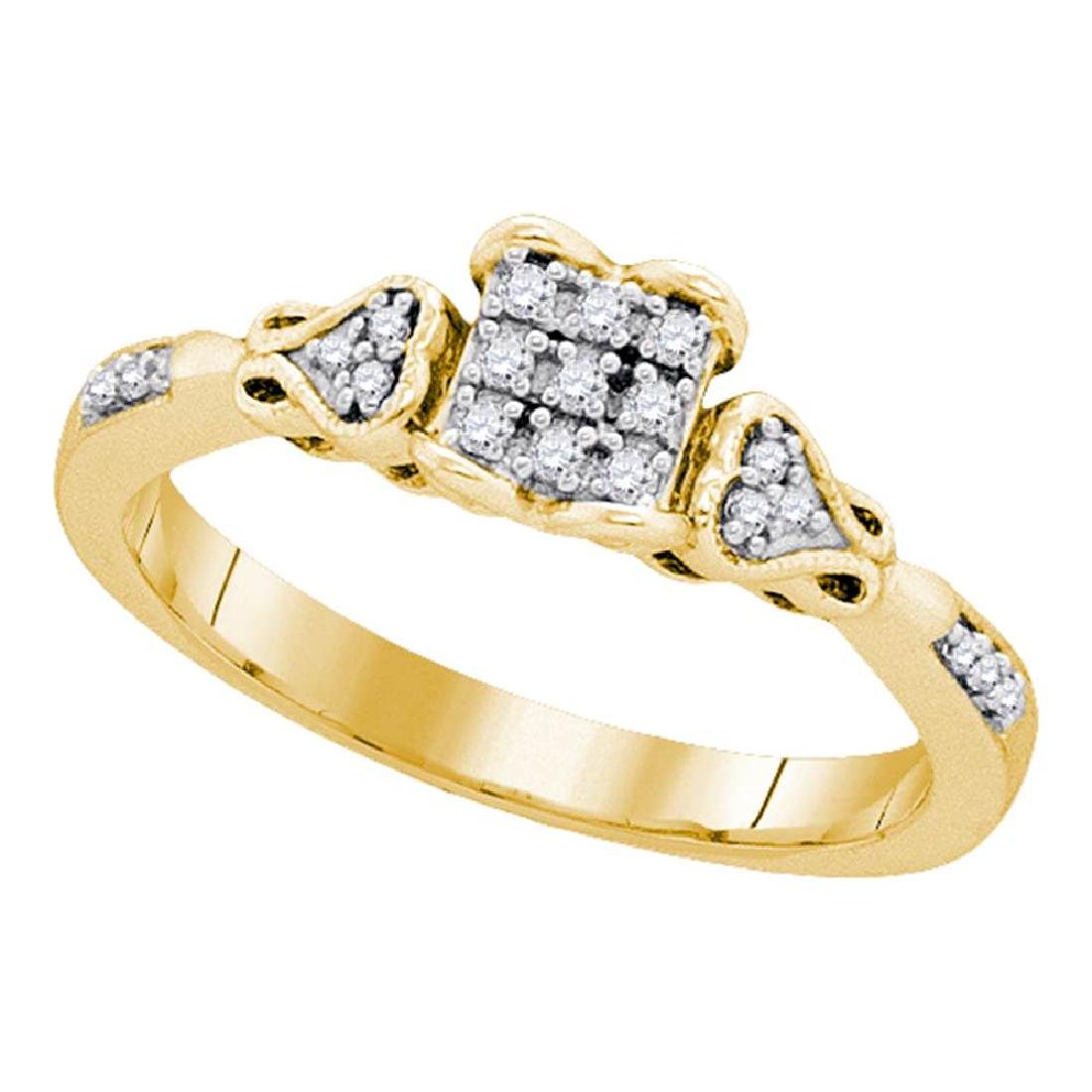 0.15 CTW Diamond Square Cluster Bridal Engagement Ring