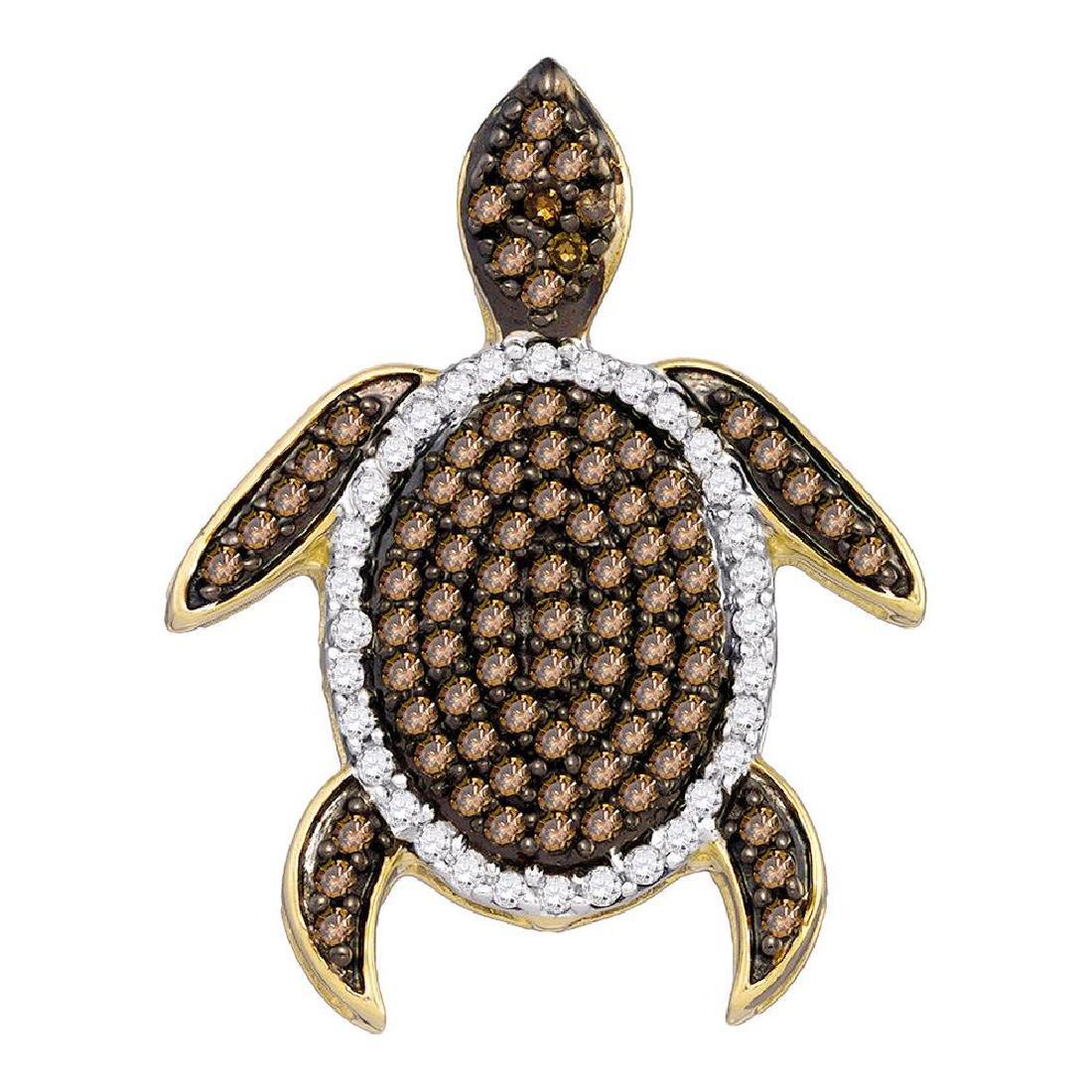 0.35 CTW Cognac-brown Color Diamond Sea Turtle Tortoise
