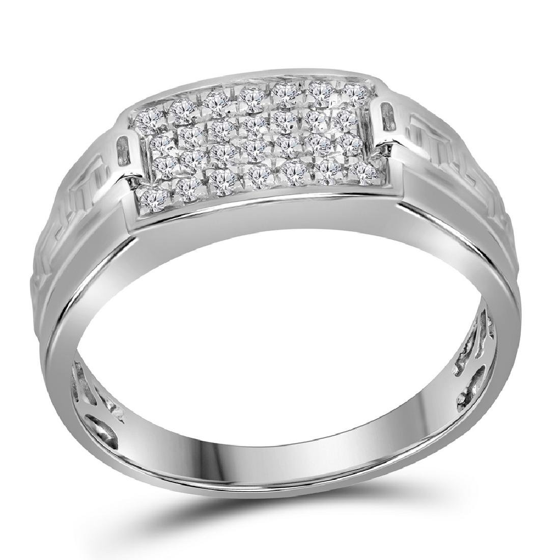 0.35 CTW Mens Pave-set Diamond Rectangle Cluster Ring