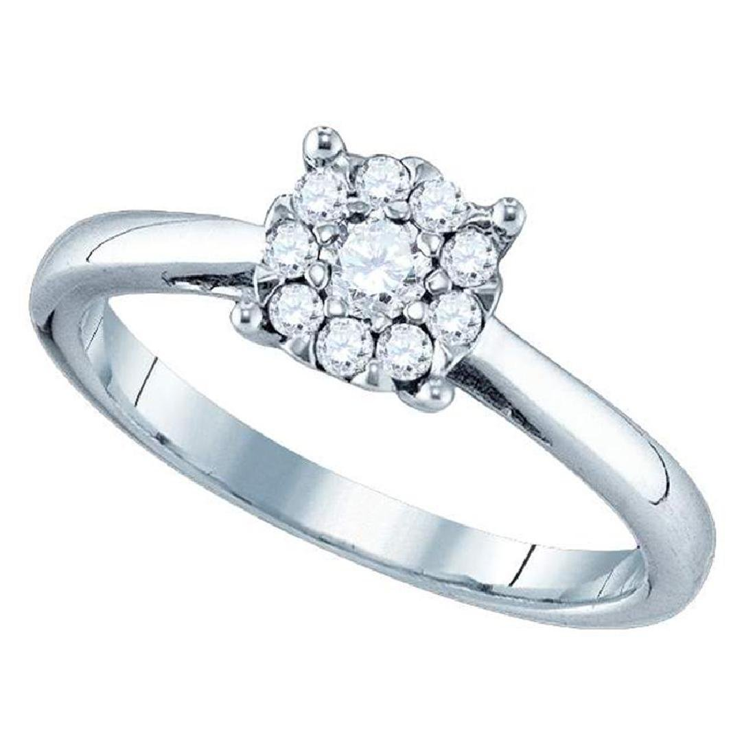 0.31 CTW Diamond Cluster Bridal Engagement Ring 18KT