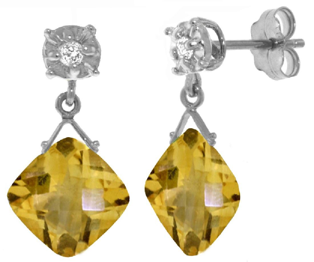 Genuine 17.56 ctw Citrine & Diamond Earrings Jewelry