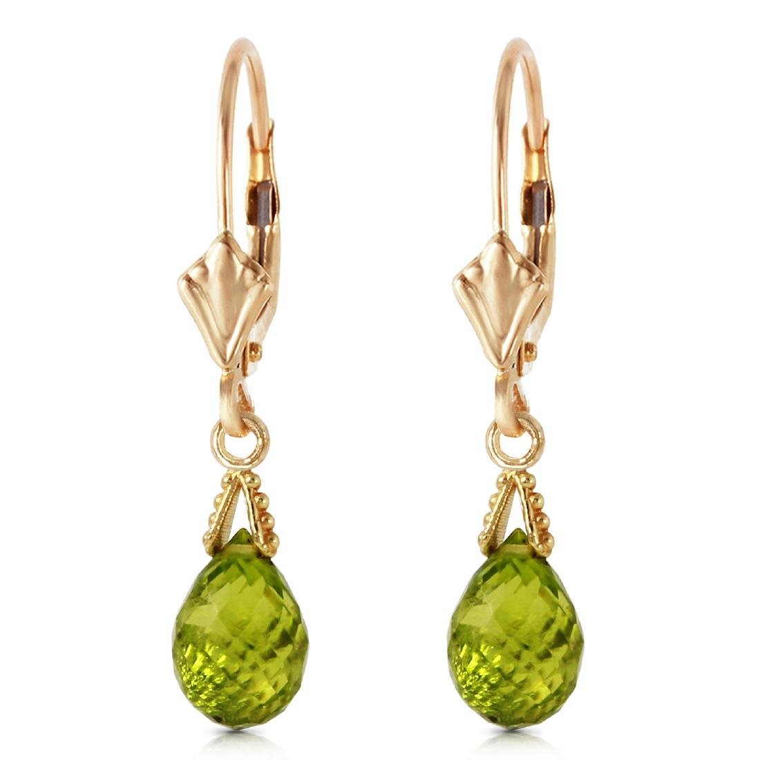 Genuine 4.5 ctw Peridot Earrings Jewelry 14KT Yellow