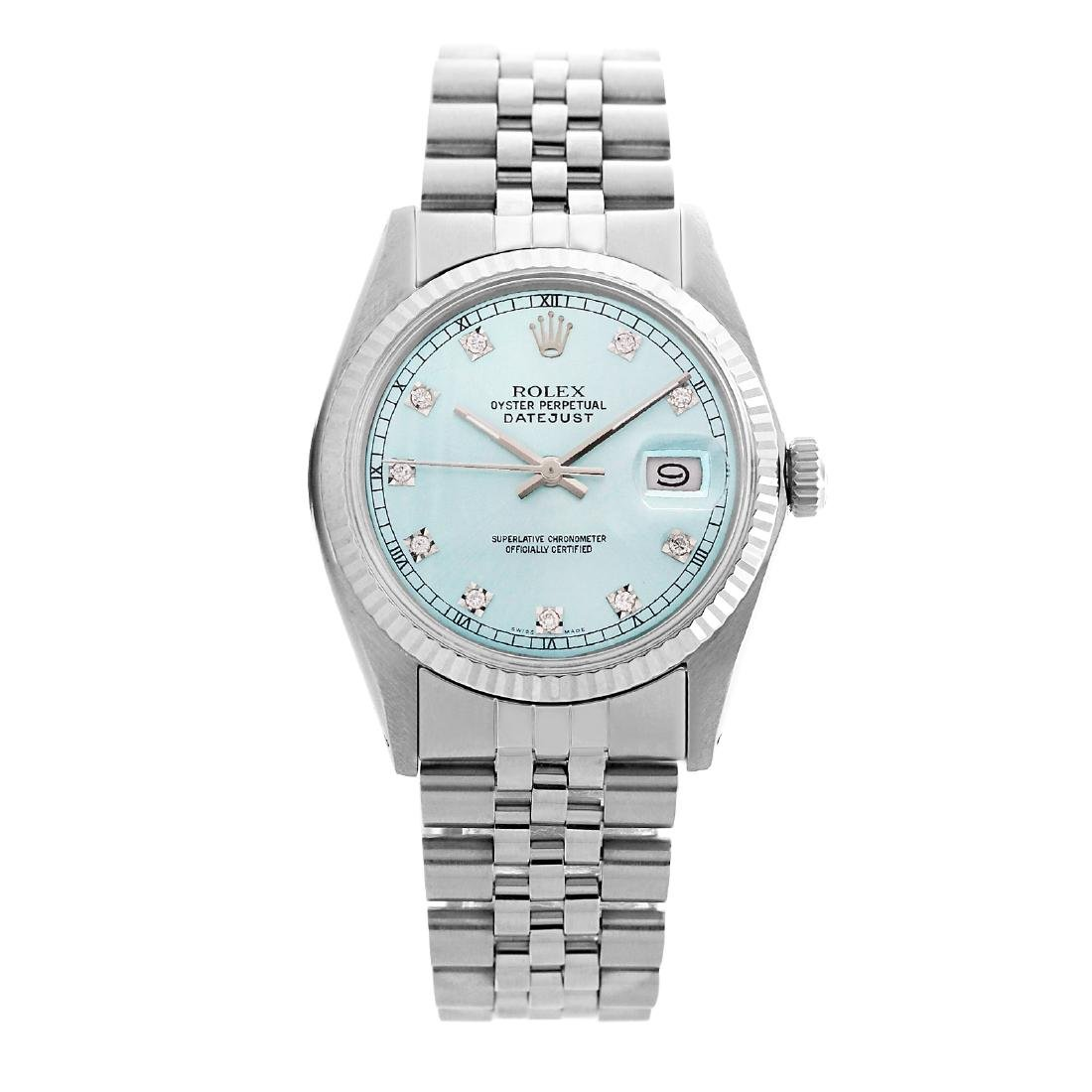 Rolex Pre-owned 36mm Mens Ligjt Blue Stainless Steel -