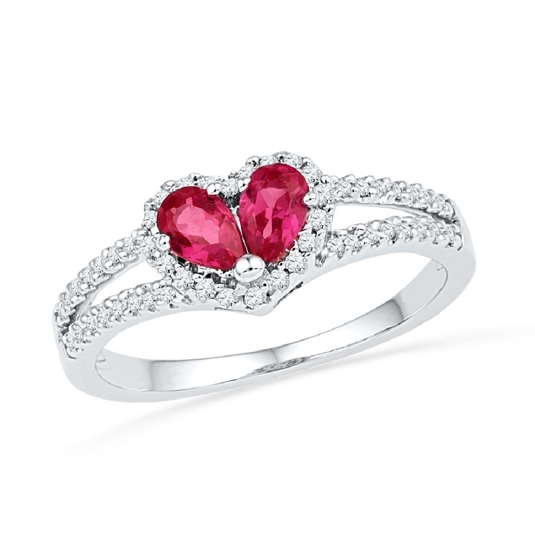 0.72 CTW Pear Created Ruby Heart Split-shank Ring 10KT