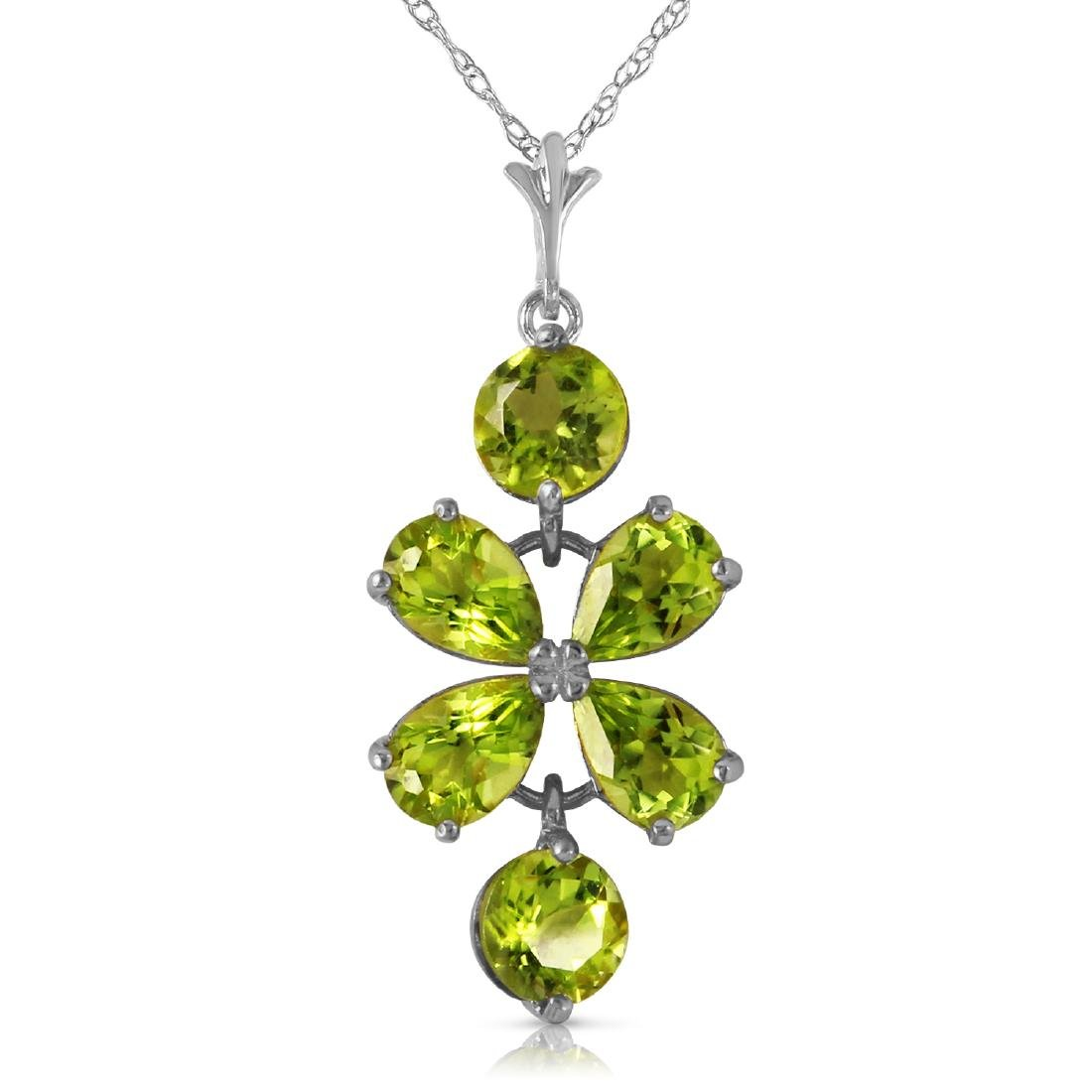 Genuine 3.15 ctw Peridot Necklace Jewelry 14KT White