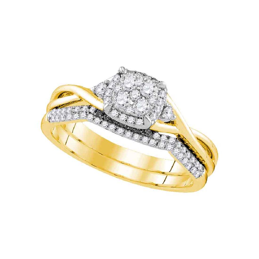 0.38 CTW Diamond Cluster Bridal Engagement Ring 14k