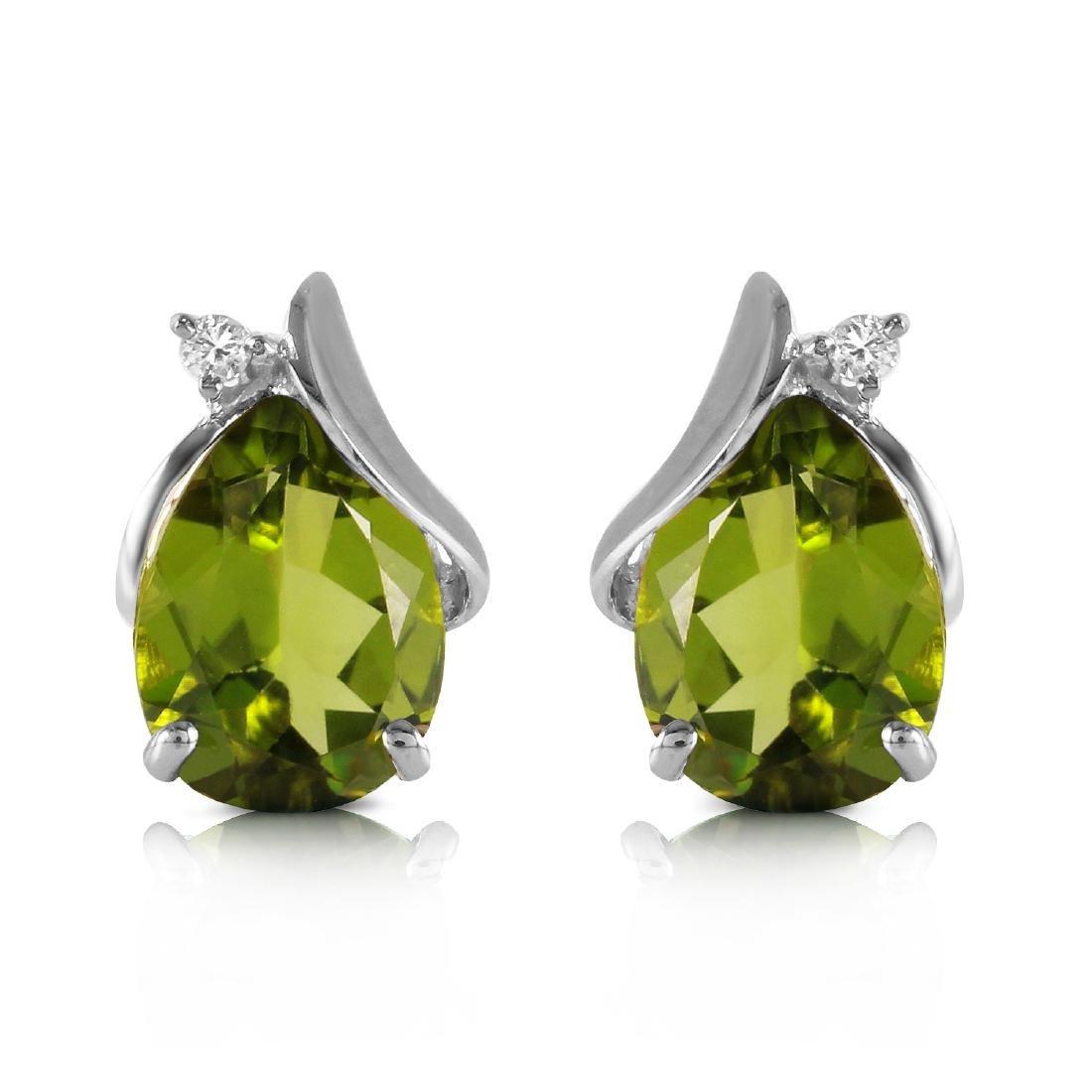 Genuine 4.26 ctw Peridot & Diamond Earrings Jewelry