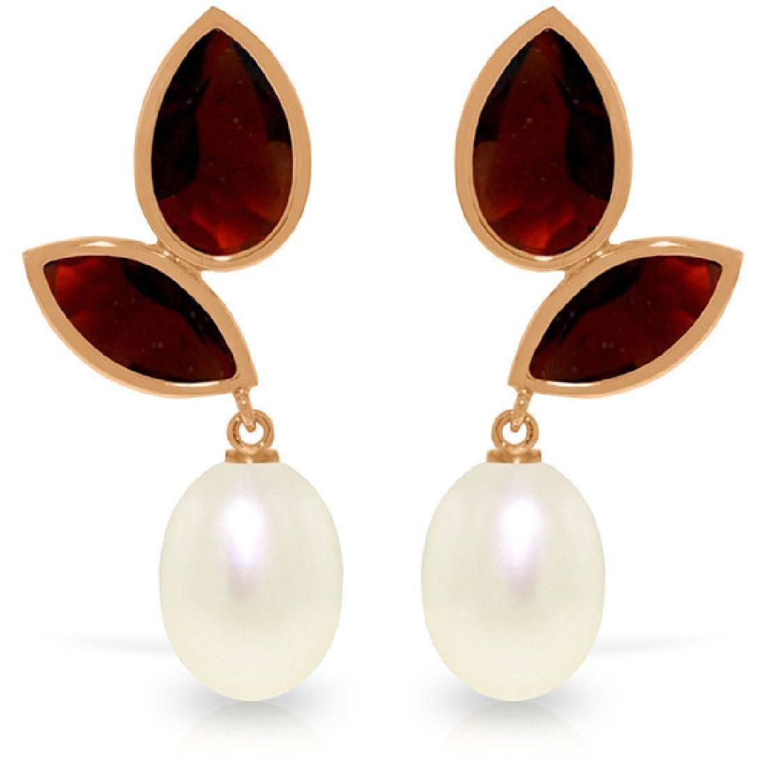 Genuine 16 ctw Pearl, Garnet & Garnet Earrings Jewelry