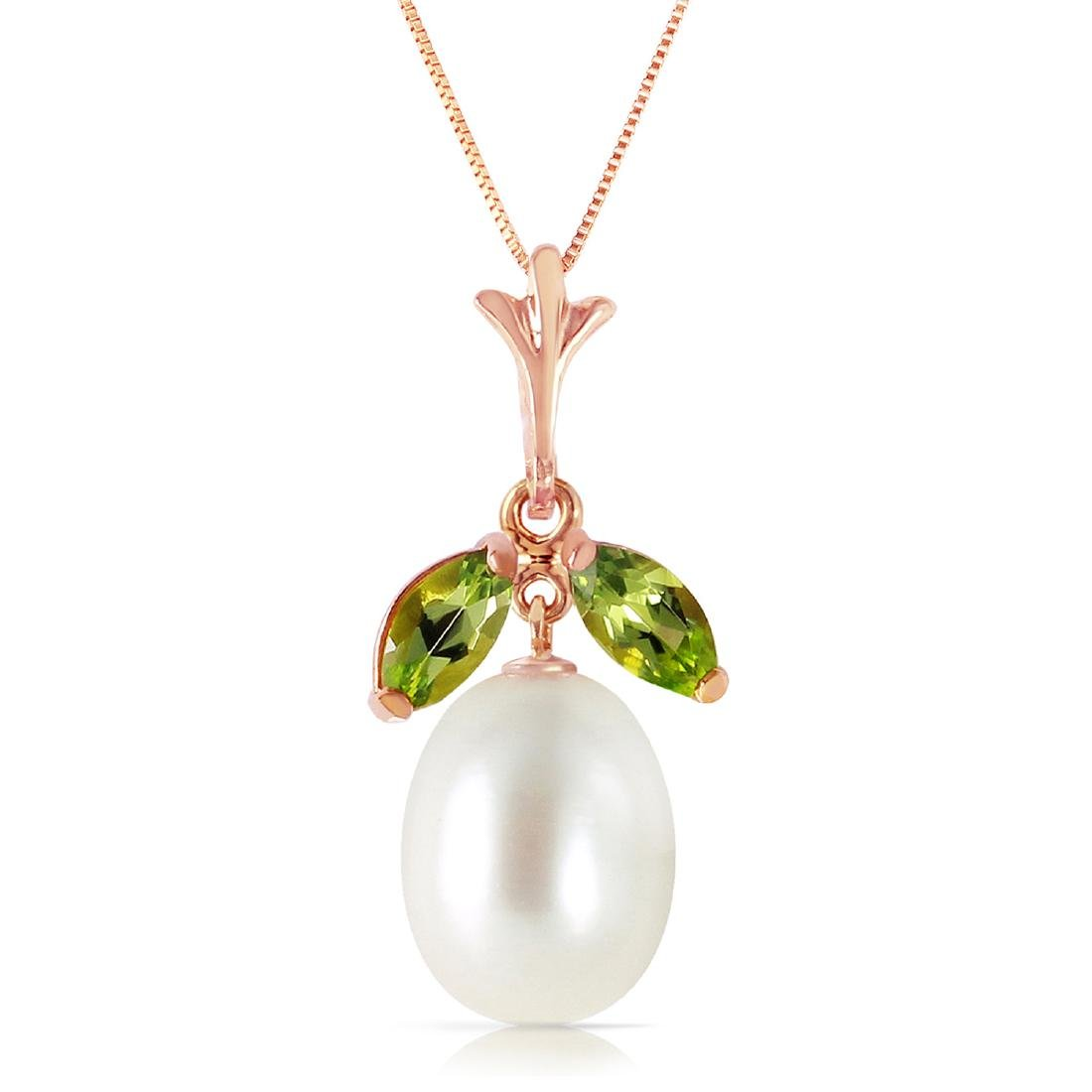 Genuine 4.5 ctw Pearl & Peridot Necklace Jewelry 14KT
