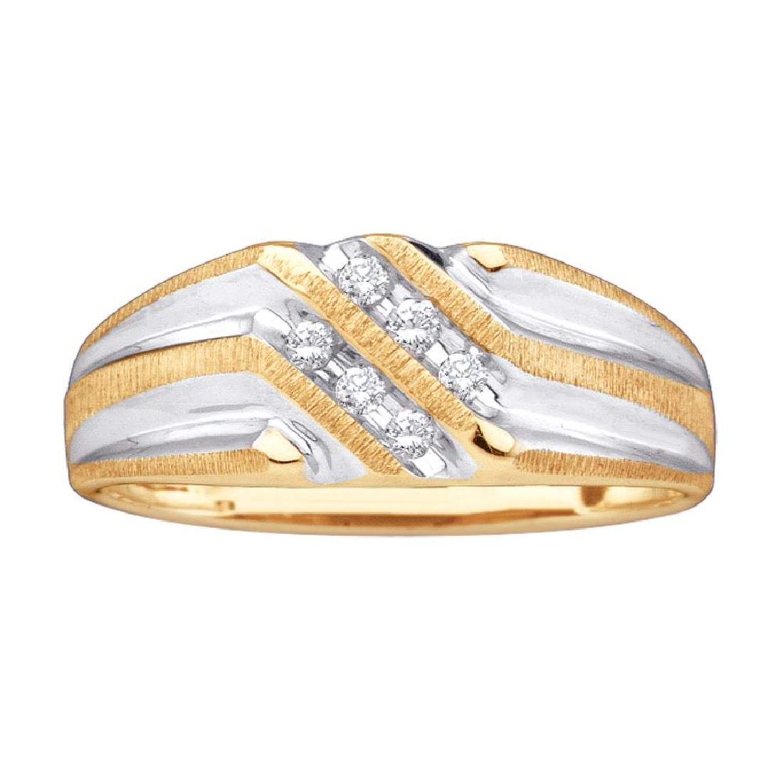 0.14 CTW Mens Diamond Double Row Two-tone Ridged