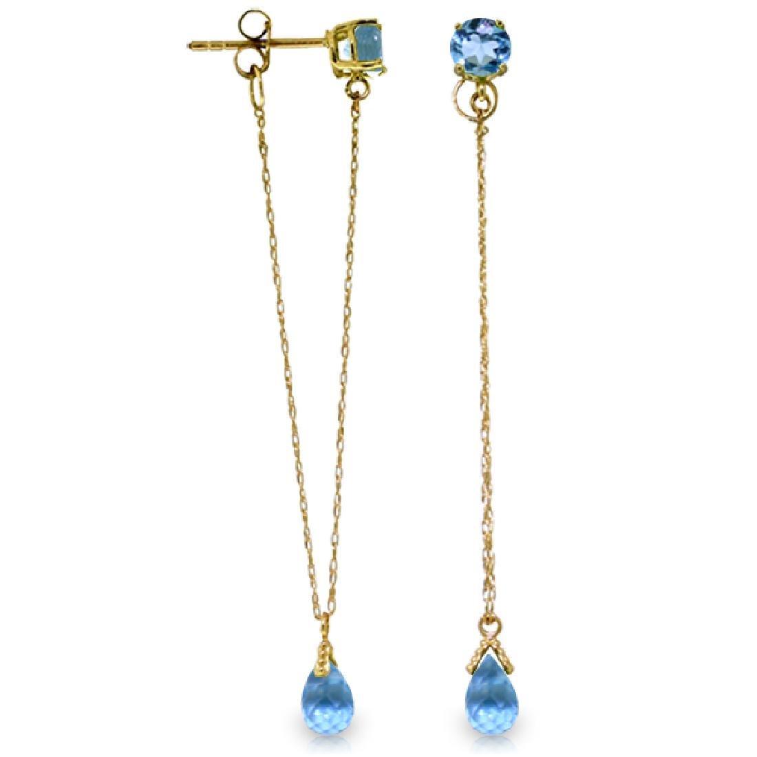 Genuine 3.15 ctw Blue Topaz Earrings Jewelry 14KT
