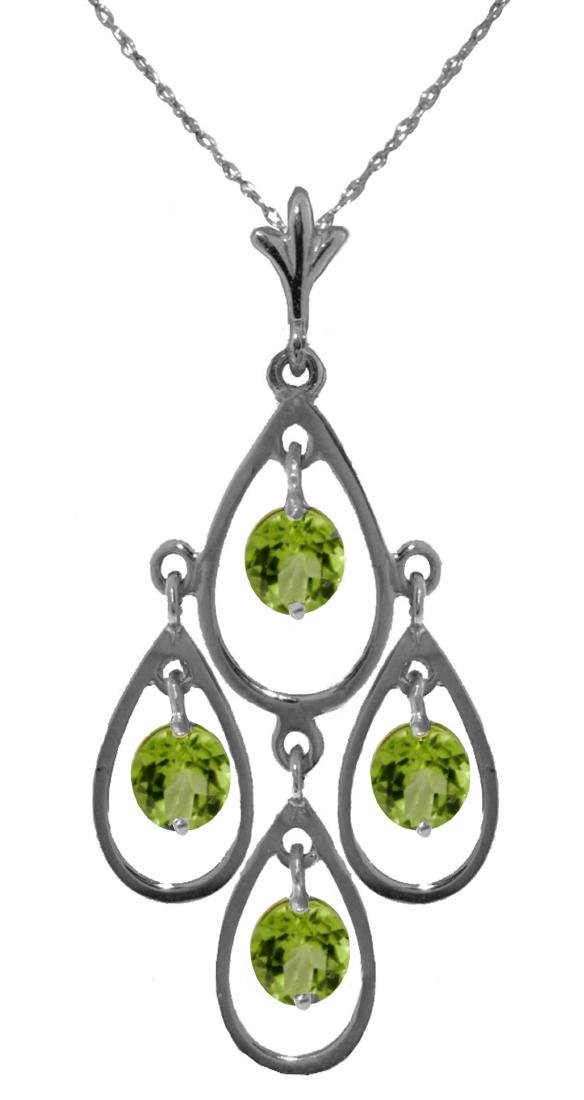 Genuine 1.20 ctw Peridot Necklace Jewelry 14KT White