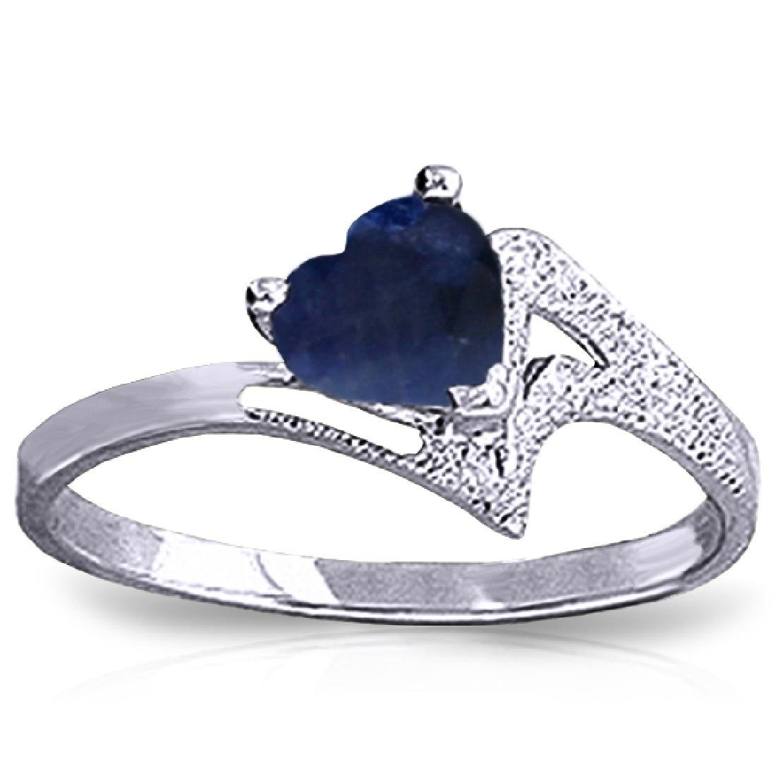 Genuine 1 ctw Sapphire Ring Jewelry 14KT White Gold -