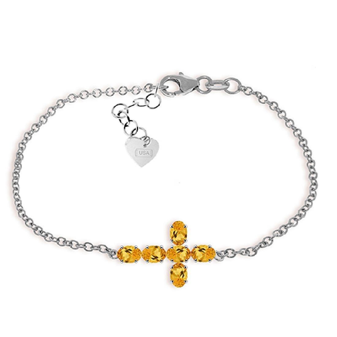 Genuine 1.70 ctw Citrine Bracelet Jewelry 14KT White