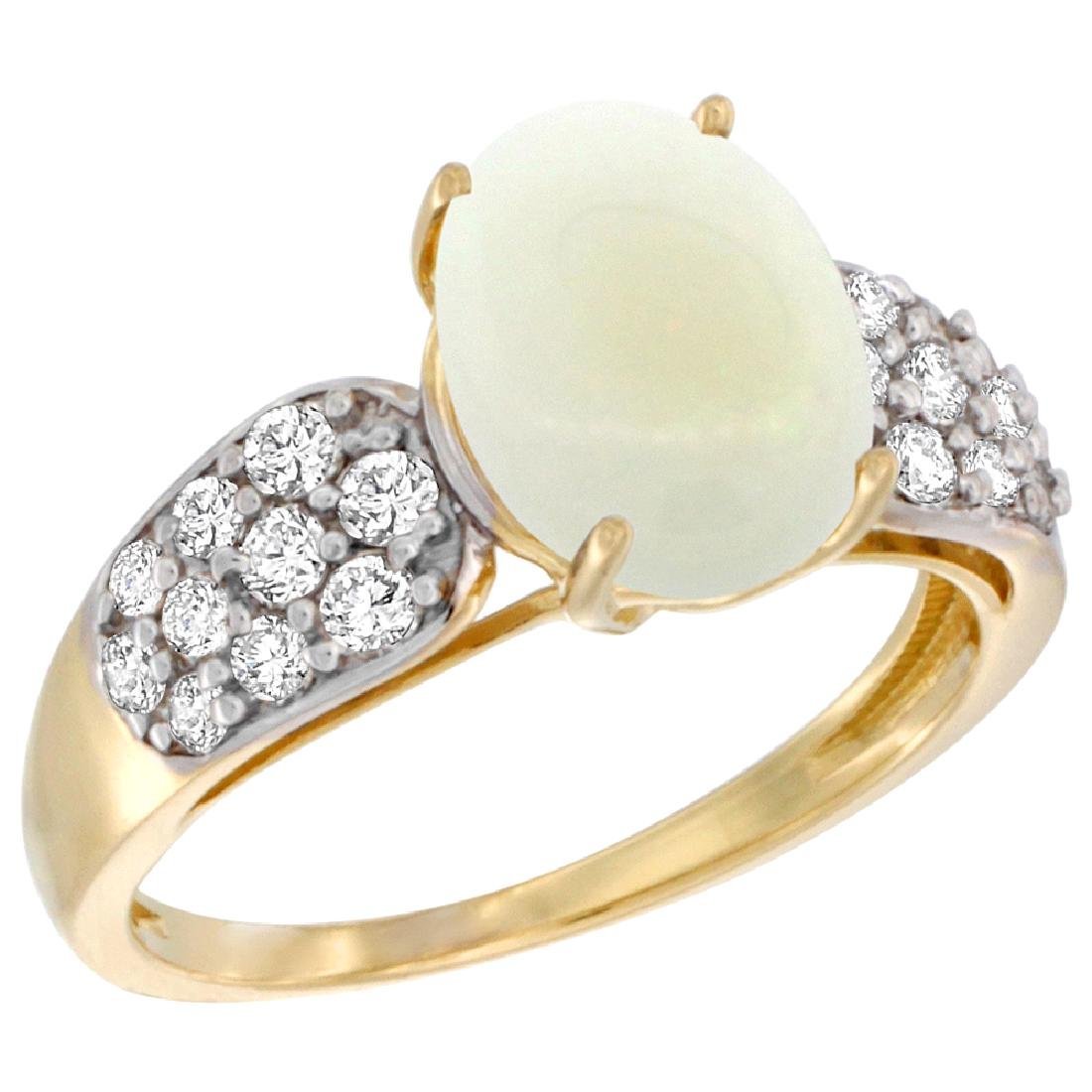 Natural 1.76 ctw opal & Diamond Engagement Ring 14K