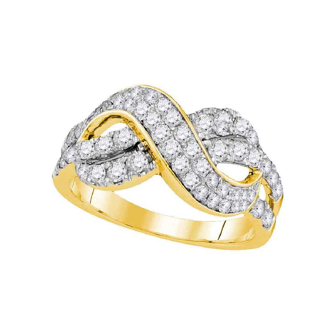 1 CTW Diamond Infinity Crossover Ring 14KT Yellow Gold