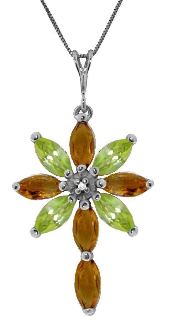 Genuine 2.0 ctw Citrine, Peridot & Diamond Necklace
