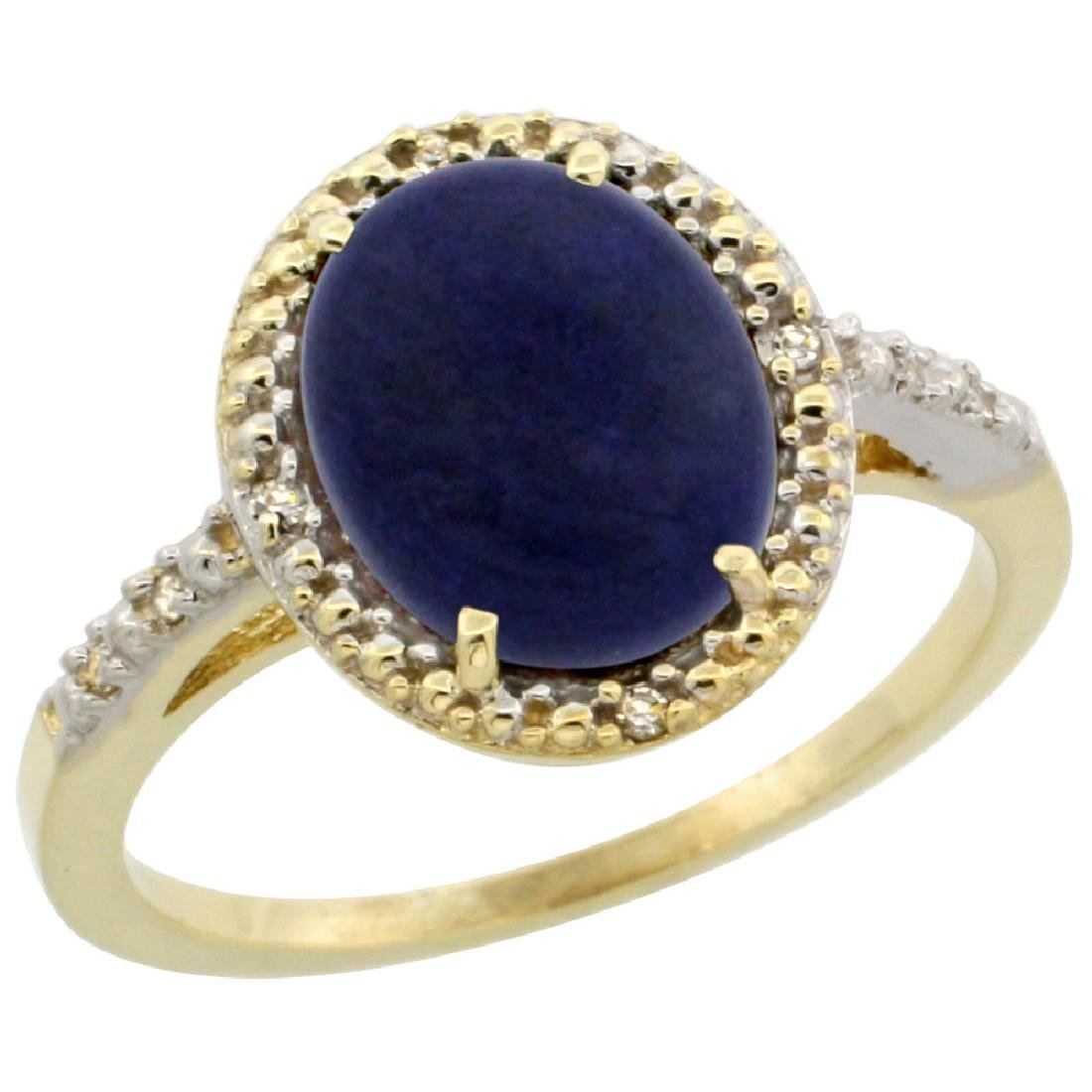 Natural 2.52 ctw Lapis & Diamond Engagement Ring 14K