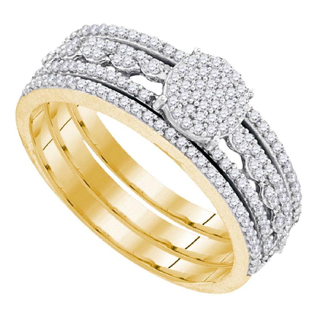 0.40 CTW Diamond Cluster Bridal Engagement Ring 10KT