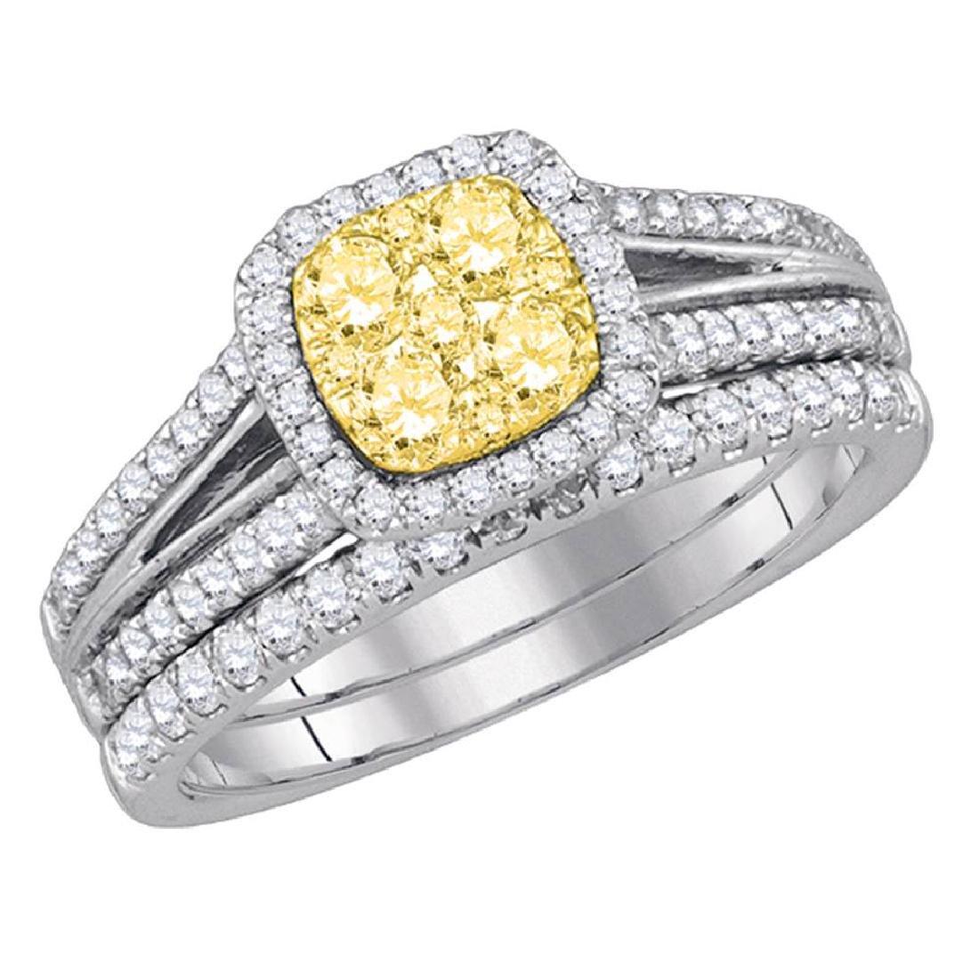 1 CTW Yellow Diamond Bridal Engagement Ring 14KT White