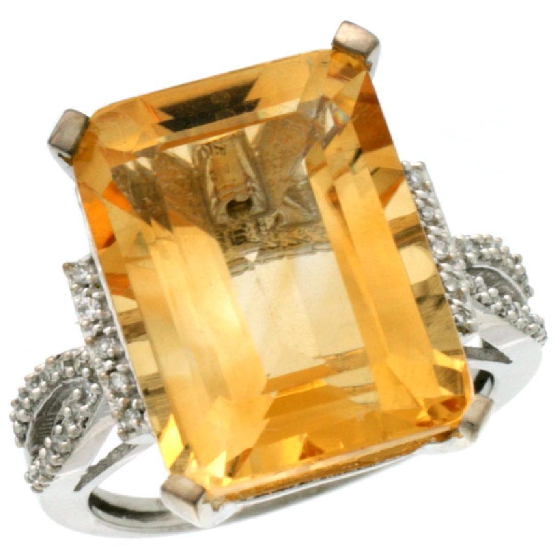 Natural 12.14 ctw Citrine & Diamond Engagement Ring 10K