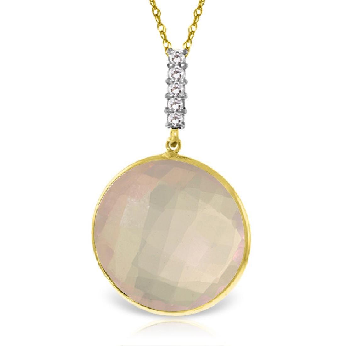 Genuine 17.08 ctw Rose Quartz & Diamond Necklace