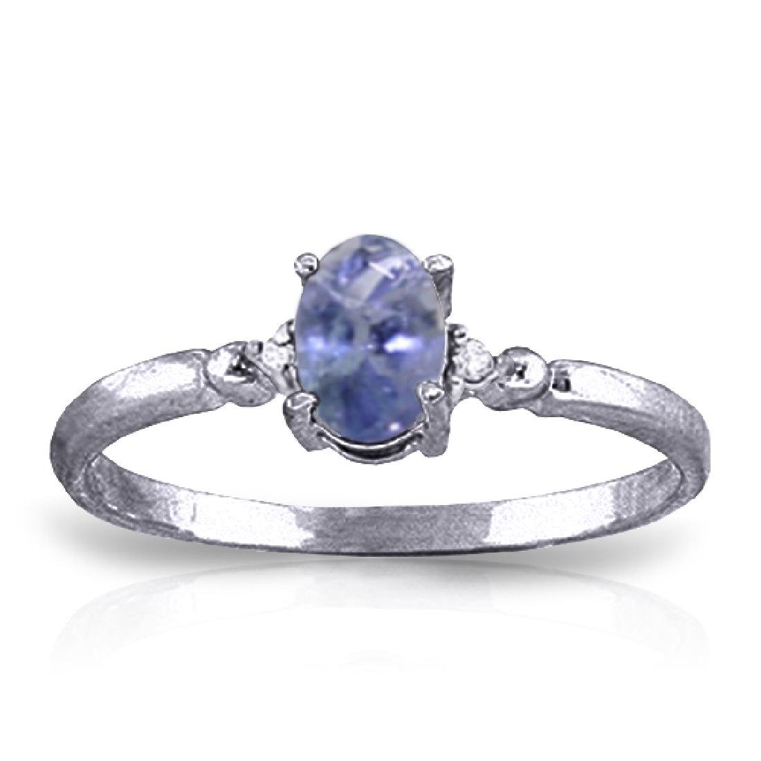 Genuine 0.46 ctw Tanzanite & Diamond Ring Jewelry 14KT