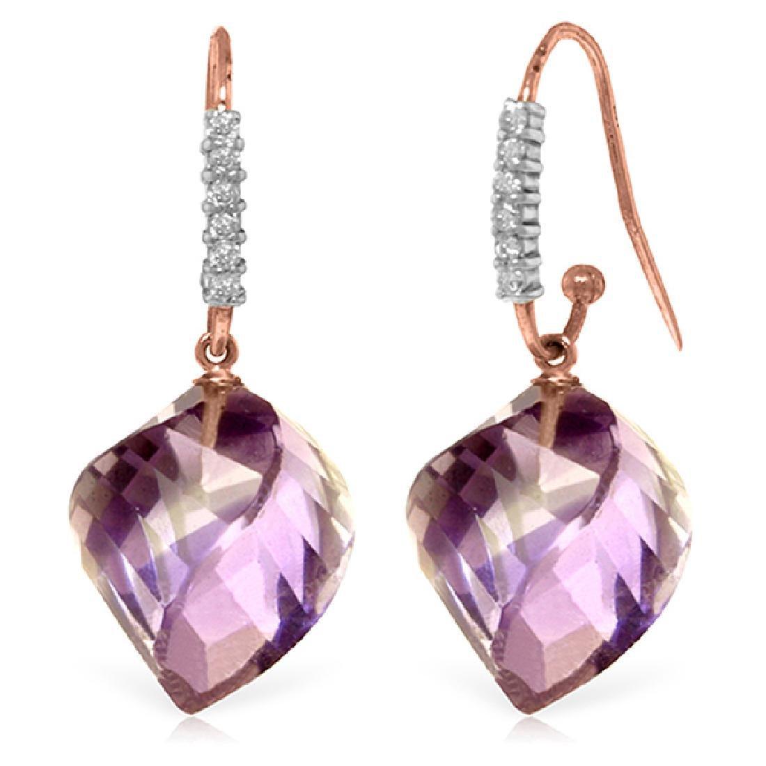 Genuine 21.68 ctw Amethyst & Diamond Earrings Jewelry