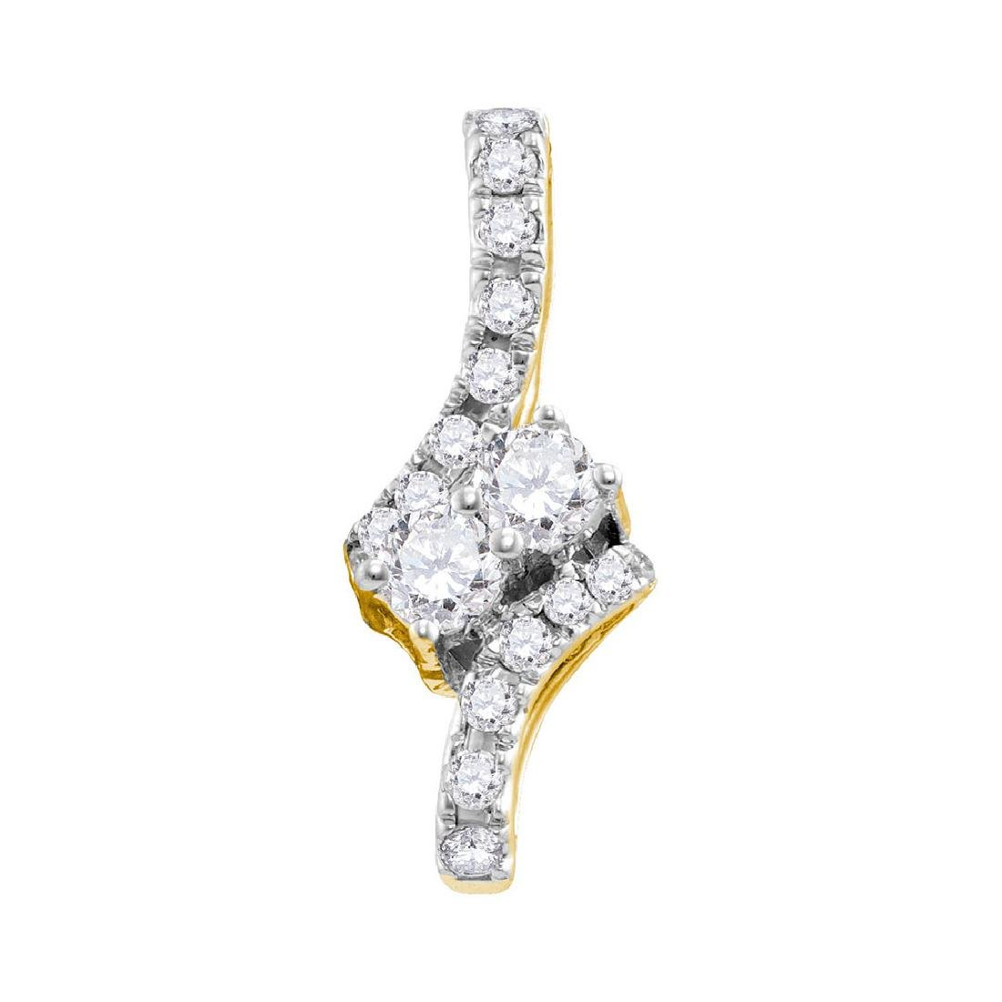 0.25 CTW Diamond 2-stone Hearts Together Pendant 14KT