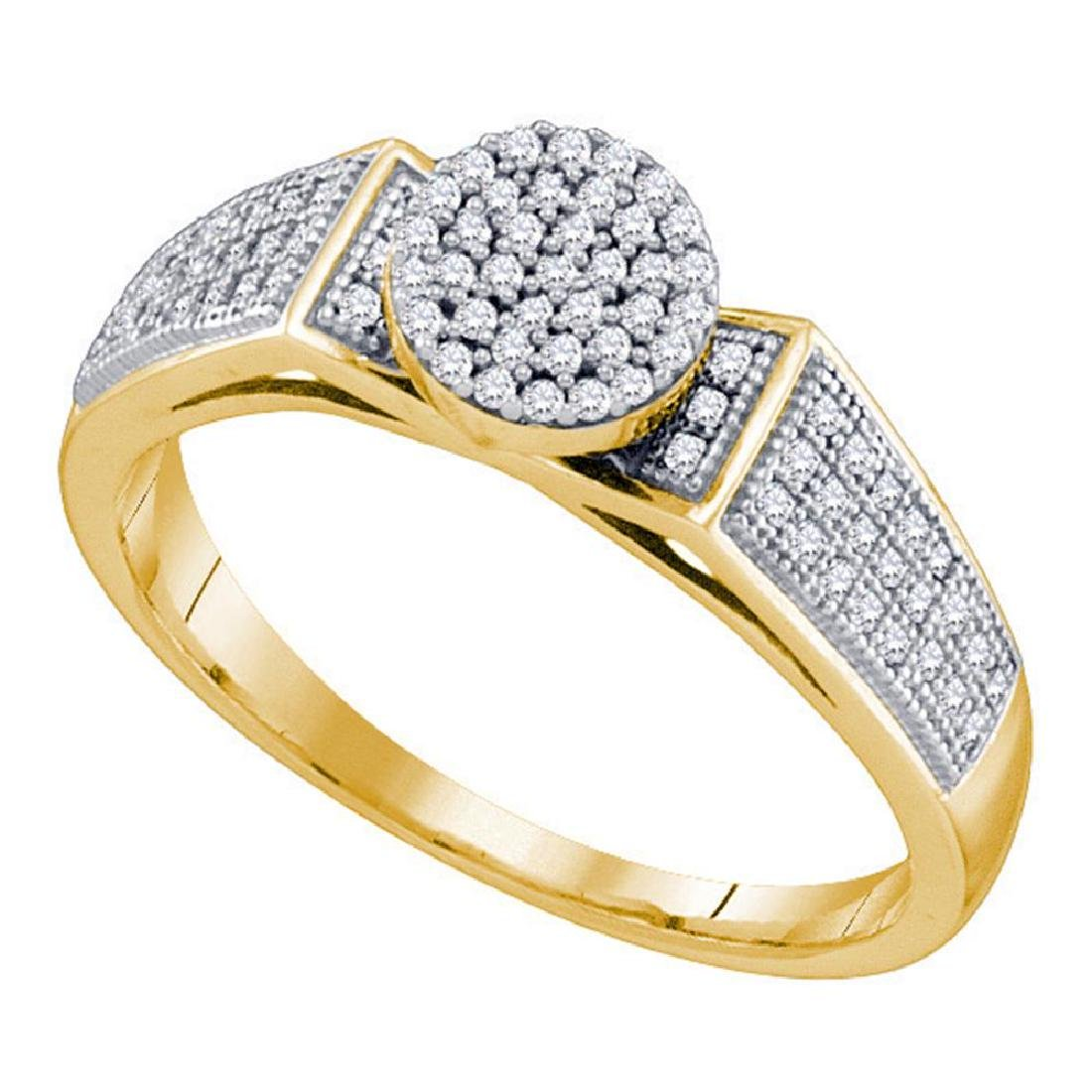 0.25 CTW Diamond Cradled Cluster Bridal Ring 10KT