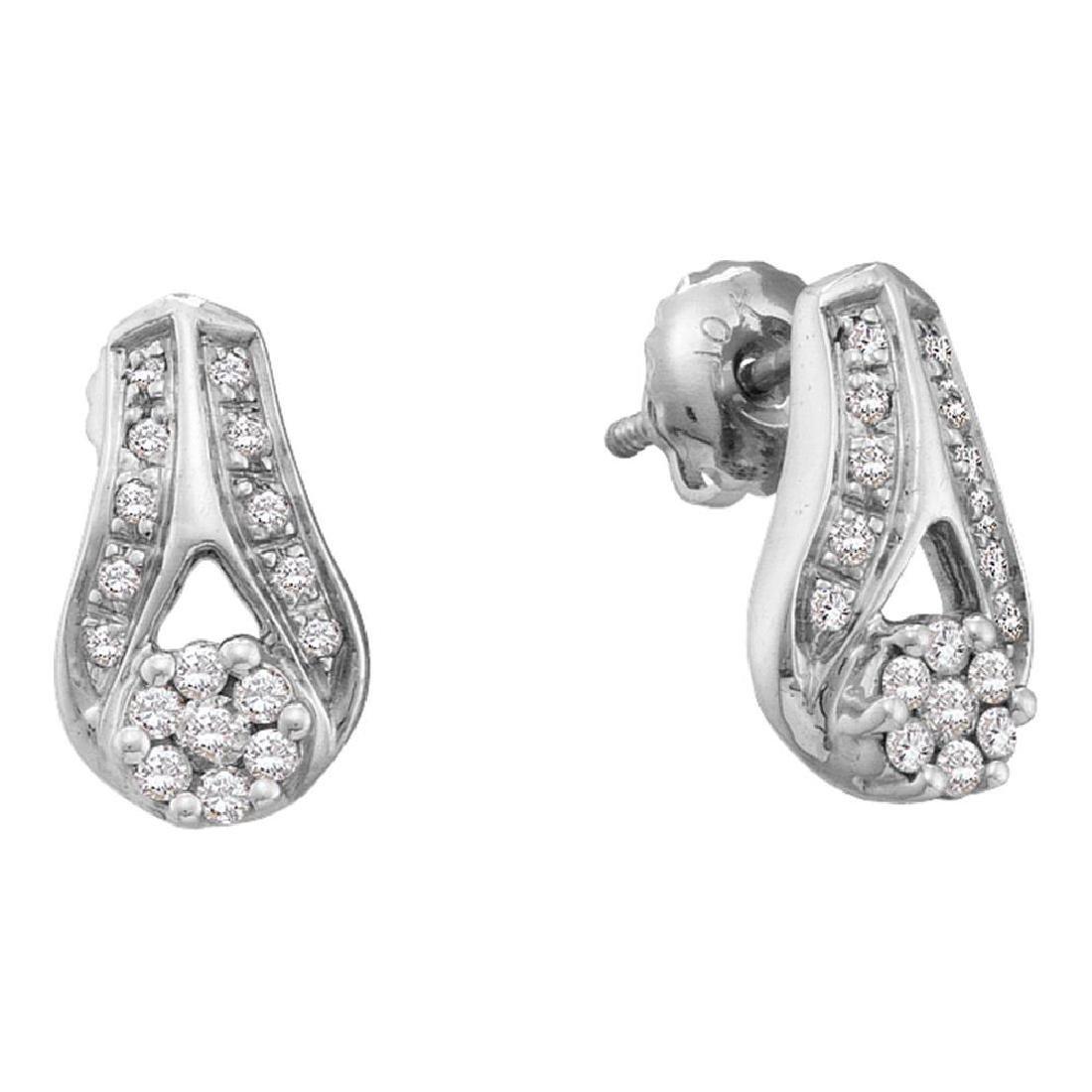 0.25 CTW Diamond Flower Teardrop Earrings 14KT White