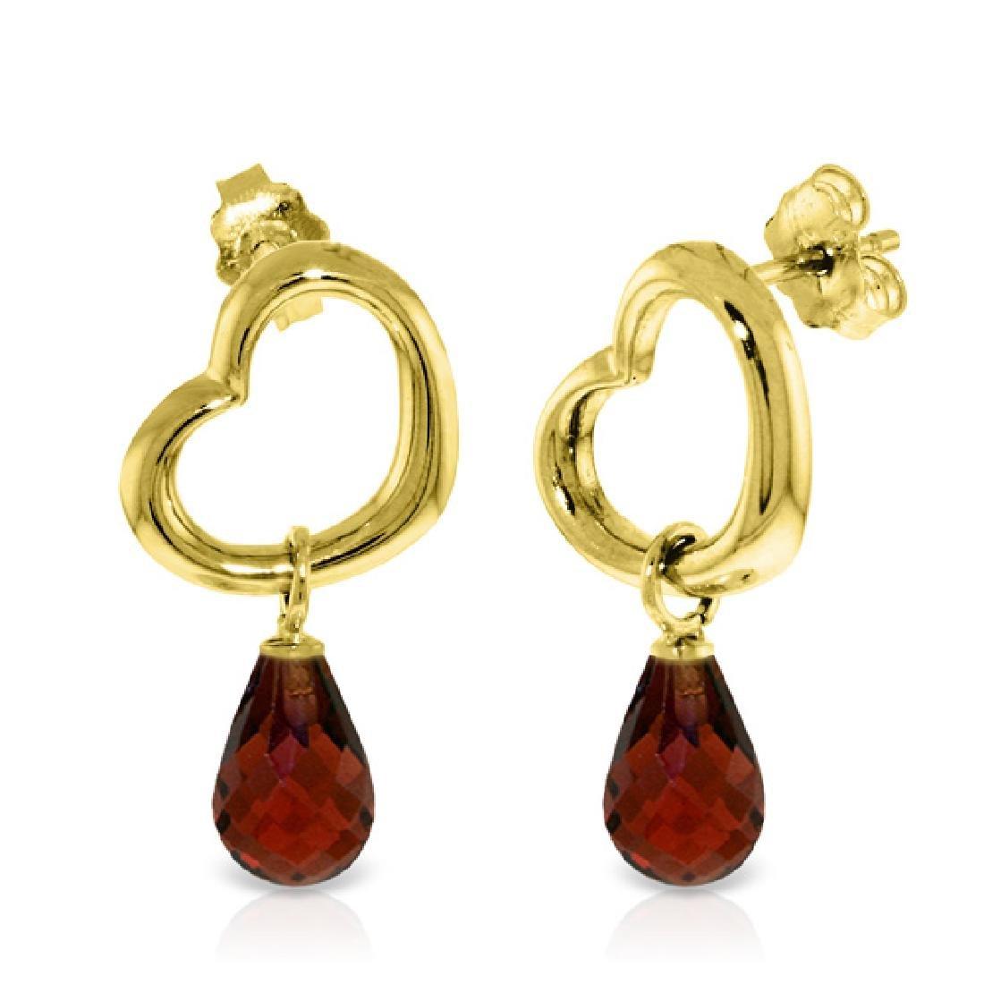Genuine 4.5 ctw Garnet Earrings Jewelry 14KT Yellow